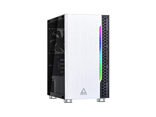 Montech Flyer- White/Micro ATX/Mini-ITX/Pre-Installed 2 Fans/High-Airflow/Computer Gaming Case/Hairline Surface Front Panel/RGB LED Shinning Strip/Three Versions Lighting Effects