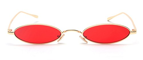 9a4dbc3dde Image Unavailable. Image not available for. Colour  BuyWorld Peekaboo Oval  Retro Metal Frame Vintage Small Round Men s Sunglasses (Yellow and Red)