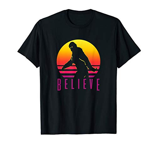 Shirt Retro 1980s - Bigfoot Sasquatch Yeti Believe T-Shirt Retro 80s Style Tee