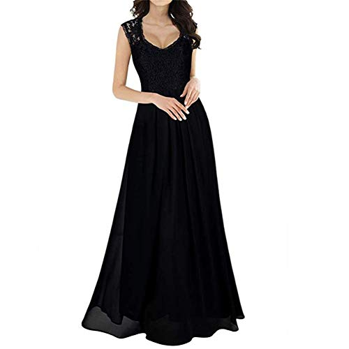 Famlyjk black Boda Vestido Honor Las Dama De La Largo xl Fiesta Encaje Apliques Mujeres 7Cw7BqgRrn