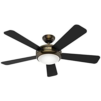Hunter 59013 contempo 52 ceiling fan with light with handheld hunter fan company 59053 palermo 52 brushed bronze ceiling fan with 5 blackwalnut reversible blades light kit aloadofball Choice Image