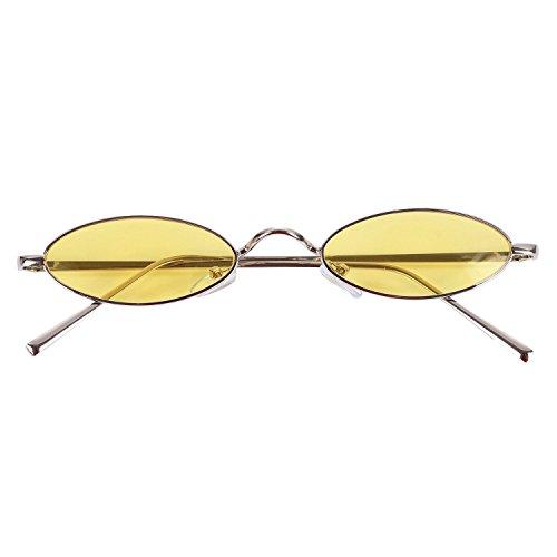 de women sol de amarillo retro sol Amarillo Mujeres de TOOGOO Ladies S8011 Gafas redondas Gafas pequenas Gafas Eyewear sol Vintage qxnZ47w