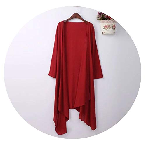 Cardigan Cotton Sweater Women Long Sweaters Cardigans Sunscreen Cardigans Women Plus Size 4XL SW772,red,XXL