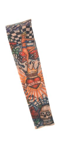 California Costumes Men's Party Like A Rock Star - Tattoo Sleeve (King Of Hearts), Multi, One Size - King Of Hearts Costume Accessories