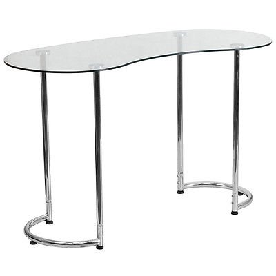 Modern Contemporary Desk with Clear Tempered Glass with Chrome Frame