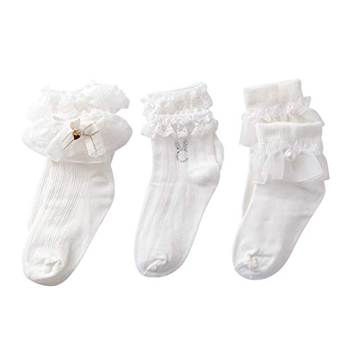 (Ninecoo Girls Pearl Heart Rhinestone Bow Cotton Ankle Socks Princess Socks White Lace Ruffle Socks Pack of 3 (5-8 T))