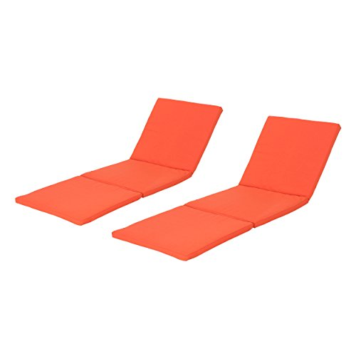 Jessica Outdoor Orange Water Resistant Chaise Lounge Cushion (Set of 2)