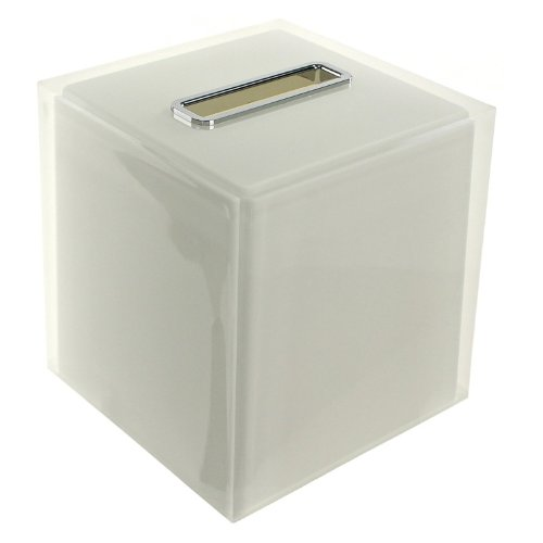 Gedy Rainbow Thermoplastic Resin Square Tissue Box Cover, White - Nameeks Box