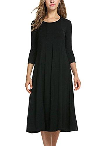 Suelta Cuello Túnica Sólido Scoop La MIDI Manga Black De Mujer Larga Vestido Elegante FwxFCqZfnH