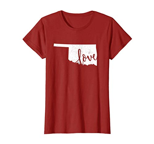 Womens Oklahoma Home Love Shirt Vintage state map outline tshirt Small Cranberry