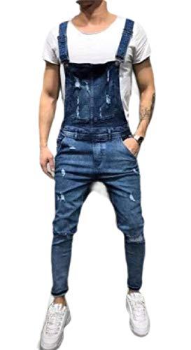 [해외]GAGA Men`s Casual Denim Bib Overalls Ripped Jeans Slim JumpsuitPockets / GAGA Men`s Casual Denim Bib Overalls Ripped Jeans Slim JumpsuitPockets Blue XX-S