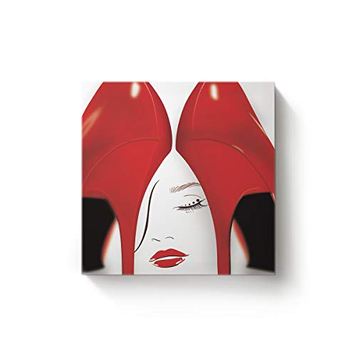 YEHO Art Gallery Canvas Wall Art Square Artwork Christmas Office Home Decor,Fashion Women Pattern with Red High Heels Pictures,Stretched by Wooden Frame,Ready to Hang,28 x 28 Inch ()