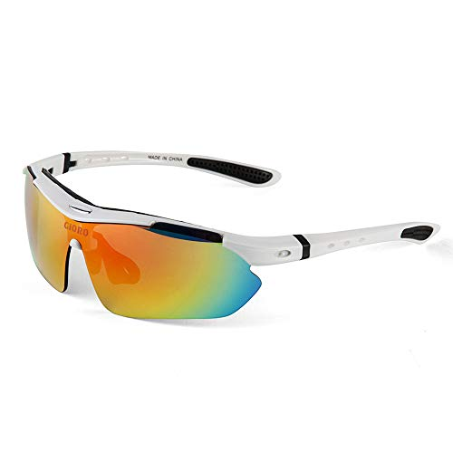 GIORO Polarized Sports Sunglasses with 5 Interchangeable Lenses for Cycling Fishing Driving (White)