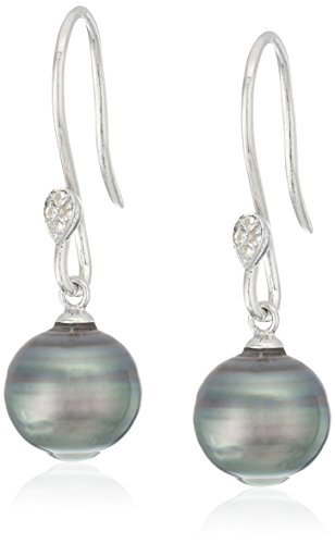 11mm Natural Cultured Tahitian Pearl (10-11mm Natural Color Circle Tahitian Cultured Pearl And White Topaz Shepperd Hook Sterling Silver Dangle Earrings)