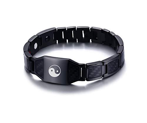VNOX Yoga Yin Yang Taichi Stainless Steel Carbon Fiber Magnetic TherapyBuddhist Meditation Bracelet,Black (Carbon Fiber Stainless Magnetic Bracelet)
