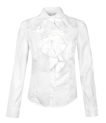 Betusline Women's Elegant Long Sleeve Ruffle Collar OL Tops Blouse T Shirt