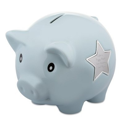 Things Remembered Personalized Light Blue Ceramic Piggy Bank, Toy Bank with Engraving Included -