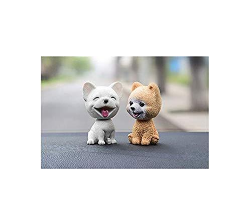 Gwill 2Pcs Cute French Bulldog &The Pomeranian Car-Styling Shaking Head Dog Car Ornament Resin Automobile Dashboard Swing Nodding Head Dog Doll Ornaments Toys Gift
