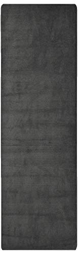 RugStylesOnline Comfy Solid Color Runner Area Rug 26 Inch Wide x Your Choice Length More Color Options Available Slip Skid Resistant Rubber Back (Dark Grey, 2
