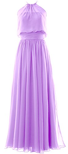 MACloth Women Halter Chiffon Long Bridesmaid Dress Formal Party Evening Gown Lavanda