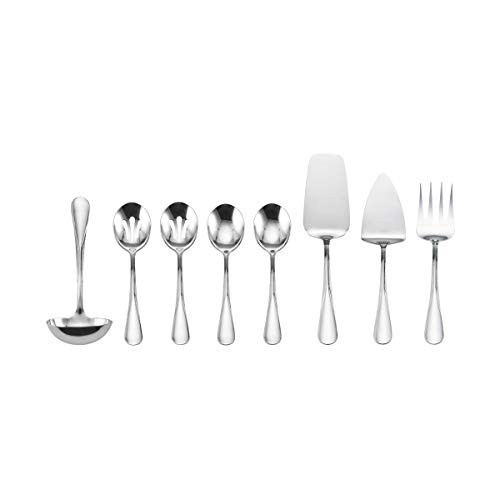 Flatware Serving - Pfaltzgraff 5184749 Kaylee 8-Piece Stainless Steel Hostess Serving Utensil Serveware Set