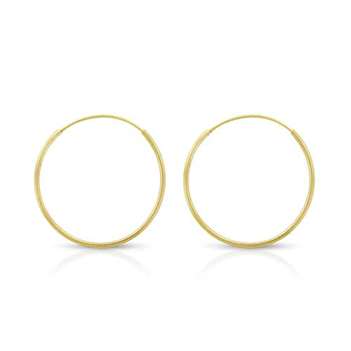 14k Yellow Gold Women's Endless Tube Hoop Earrings 1mm Thick 10mm - 20mm (16mm) ()