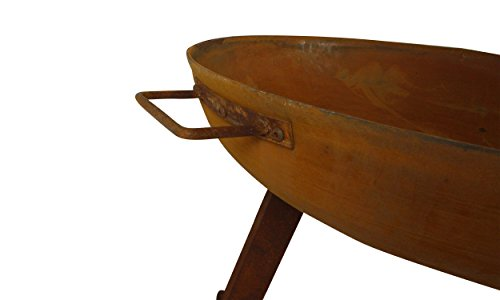 MagJo Rustic Cast Iron Wood-Burning Fire Pit Bowl, 30 Inch Diameter (Rust) - Overall dimensions: 30 inch diameter x 15 inches tall. Bowl is 6 inches deep. Handle to Handle measures 34.5 inches. havy dut cast iron construction! With a weight of over 25 pounds, this fire pit is a sturdy and reliable addition to any backyard. 1-year manufacturer's warranty. - patio, outdoor-decor, fire-pits-outdoor-fireplaces - 31wpkmSjkSL -