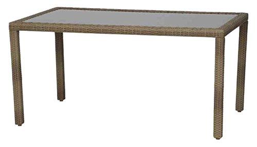Siena Garden 989624 Tisch Bern, 150x90cm Aluminium-Gestell Gardino®-Geflecht sand Glasplatte mocca