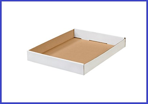 BoxYeah 50 Pack - White Corrugated Cardboard Tray - 3 Sizes To Choose - Example (15 x 12 x 1 3/4)