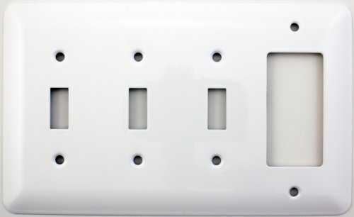 Mulberry Princess Style White Four Gang Combination Switch Plate - Three Toggle Light Switch Openings One GFI/Rocker Opening