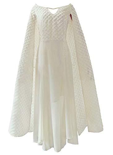 Daenerys Targaryen Costumes Mother of Dragon Cosplay White Dress Cloak for Women]()