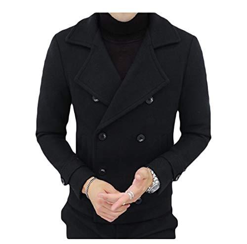 Winwinus Mens Double Breasted Notched Lapel Collar Jacket Faux Fur Peacoat Black 2XL (Notched Collar Fur Coat)