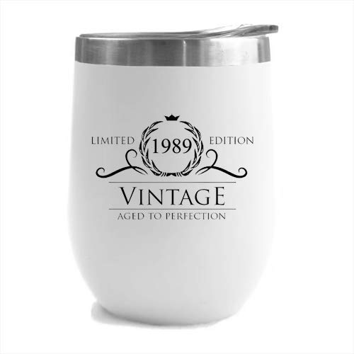 1989 30th Birthday Gifts for Women or Men - Vintage Aged to Perfection Stainless Steel Tumbler -12 oz White Tumblers w/Lid - Funny Anniversary Gift Ideas for Him, Her, Husband or Wife. Insulated Cups