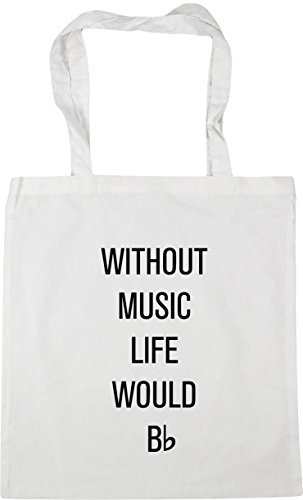 HippoWarehouse without music life would be flat Tote Shopping Gym Beach Bag 42cm x38cm, 10 litres White