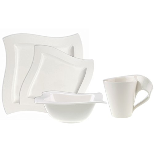 Villeroy & Boch 4003683463816 New Wave 4-Piece Place Setting Dinner, Salad Plate, Bowl, and Mug - Premium Porcelain, Set of 4 (Variable), Dinnerware