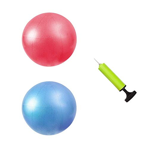 - MU-MOON Mini Fitness Exercise Ball Kit with Hand Pump for Yoga, Pilates, Body Balance, Core Training and Stability, 8