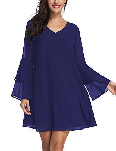 Azalosie Womens Long Sleeve Tunic Dress V Neck Summer Chiffon Short Cocktail Casual Evening Loose Swing Solid Dress Navy Blue