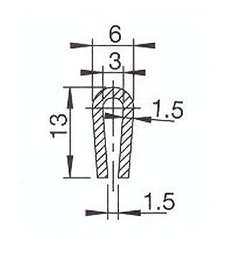 EUTRAS Kantenschutz 2324 Fassungsprofil FP3008 Kantenschutz Dichtungsgummi-Spaltma/ß 1,5-3,0 mm 20 m Schwarz