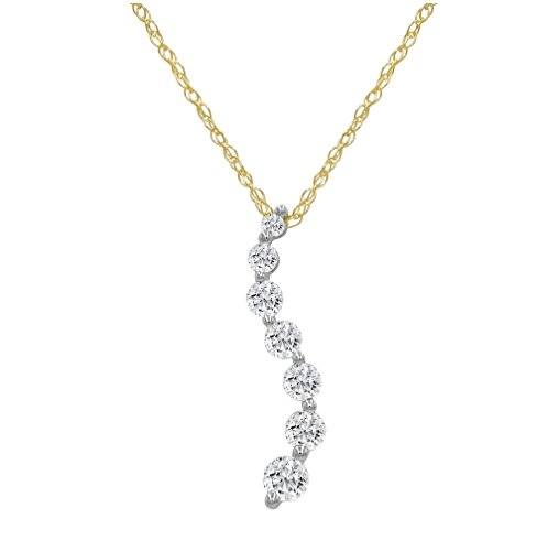 Diamond Prong Journey Pendant - AGS Certified 1/2ct. tw. Journey Diamond Pendant in 10K Yellow Gold