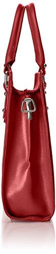 100 italiano las cuero Rosso modelo mujeres auténtico asas para con Rojo in Made Satchel Italy C0wq11