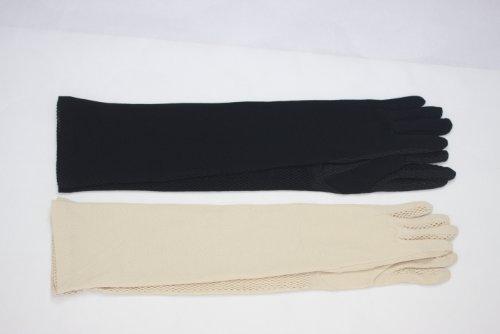 シェア表示路面電車【女性用】UV手袋指付きロング50cm 色おまかせ2枚セット