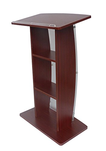 FixtureDisplays 44.25'' Tall Podium for Floor, Curved Frosted Front Acrylic Panel 19658-APPLE-NF by FixtureDisplays