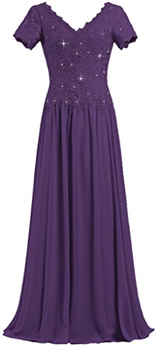 Sleeve Long V The Gowns ANTS Mother of Neck Purple Dresses Bride Short Women's IxOwF