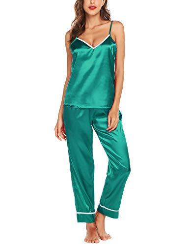 - Romanstii Satin Pajamas Set Sleepwear Chemise PJ Set Silk Soft Nightwear Green