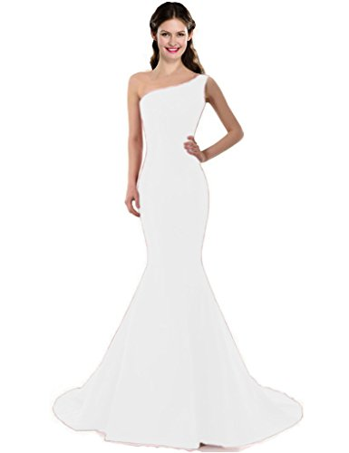 Color E Dress DESIGN Brief Elegant One-Shoulder Evening Dress Size 4 White