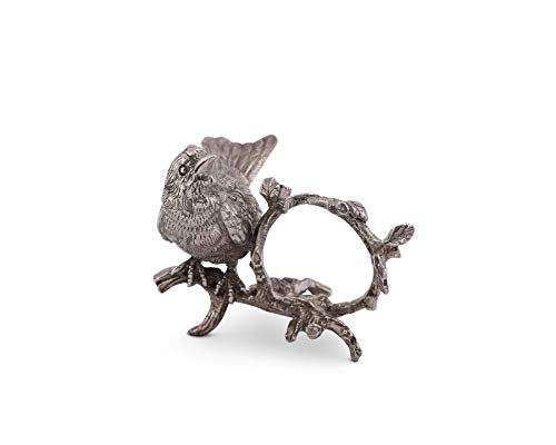 - Vagabond House Pewter Metal Handcrafted Spring Song Bird Napkin Ring 3