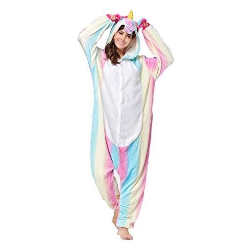RONGTAI Adults Unisex Animal Flannel Unicorn Onesie Pajamas Cosplay CostumeXLRainbow Unicorn