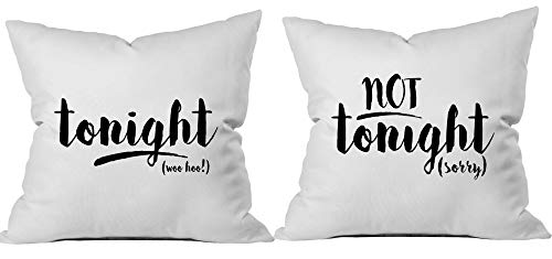Oh, Susannah Tonight Not Tonight Reversible Throw Pillow Case - Cover Fits 18x18 Insert- Packaged in Gift Box Perfect for Couples - Engagement - Bachelorette Party - Bridal Shower -
