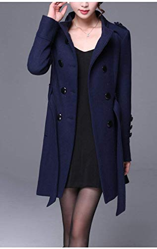 Cuello Gabardina Outwear Parkas Mujer Slim Fit Talla Termica Manga Invierno Largos Especial Fashion Larga Estilo Elegantes Abrigo Grande Navy Stand Classic PvUSqXnqHW