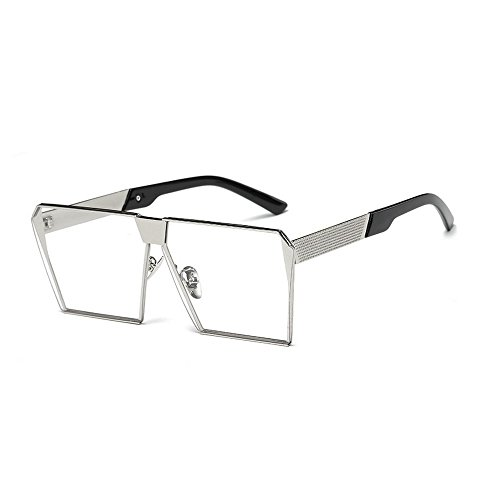 MINCL/Unisex Square Metal Frame Clear Lens Sunglasses Oversized Glasses (silver-clear, - Styling Glasses